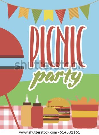 Summer party invitation barbecue picnic template stock vector 2018 summer party invitation barbecue picnic template vector illustration stopboris Images