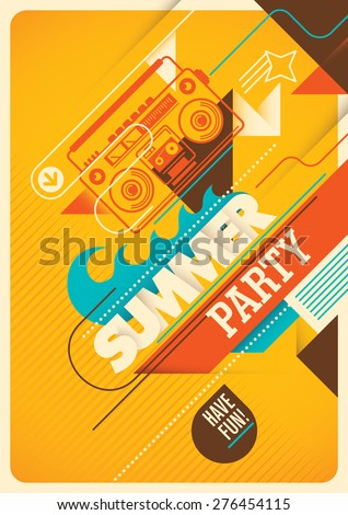 Summer party poster design. Vector illustration. - stock vector