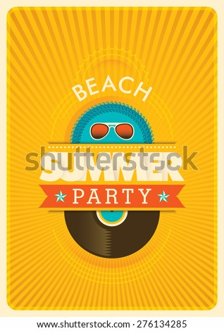 Summer party poster. Vector illustration. - stock vector