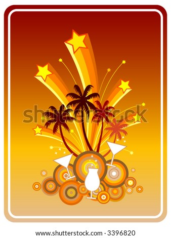 Summer Party-Symbolic illustration in retro style of a fun beach party with coconut trees, cocktails, martinis, exploding fireworks and stars - stock vector