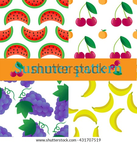 Summer pattern. Fruit seamless set. - stock vector