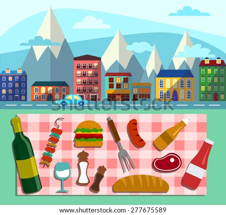 Summer picnic in meadow with mountains and road: umbrella, guitar, basket with food, fruits, barbecue. Vector flat illustrations and set of element - stock vector