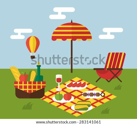 Summer Picnic Invitation Template Food Basket Stock Vector