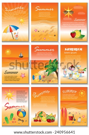Summer Placard Template Set - Vector Illustration, Graphic Design, Editable For Your Design - stock vector