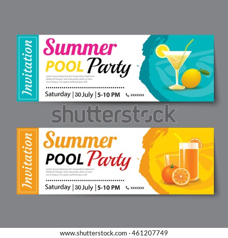 Pool Party Invitation Photos RoyaltyFree Images and Vectors – Party Tickets Templates