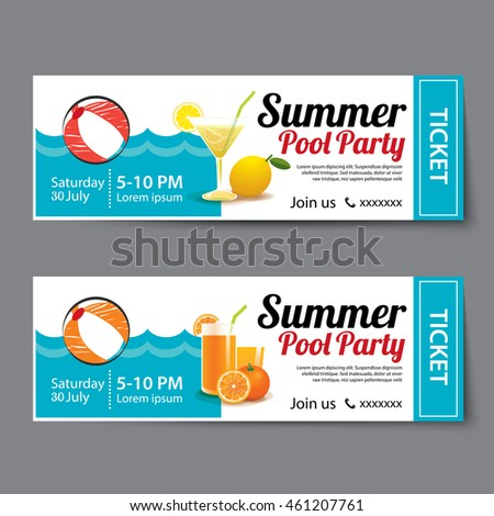 Pool Party Invitation Images RoyaltyFree Images Vectors – Christmas Party Ticket Template Free
