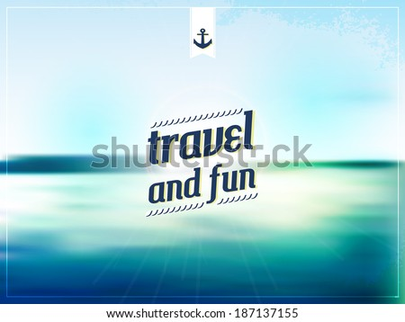 summer postcard background. travel and fun. beach and water. template for poster. - stock vector
