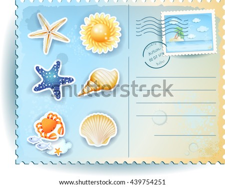 Summer postcard with icons, vector illustration  - stock vector