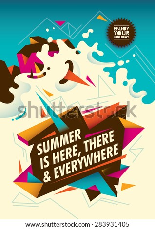 Summer poster design with abstraction. Vector illustration. - stock vector