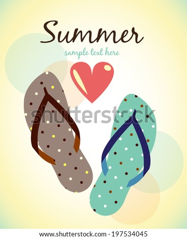 Summer  poster. I love summer - stock vector