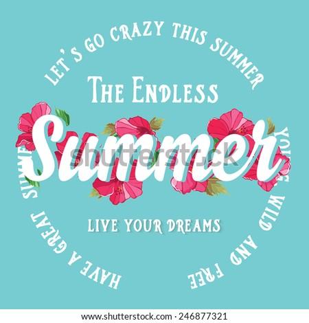 Summer poster.Typography vector. - stock vector