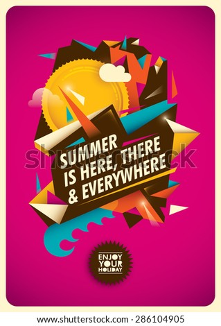 Summer poster with abstract illustration. Vector illustration. - stock vector