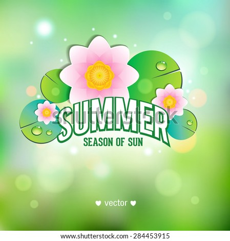 Summer poster with lotus. - stock vector