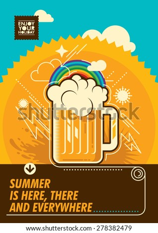 Summer poster with mug of beer. Vector illustration. - stock vector