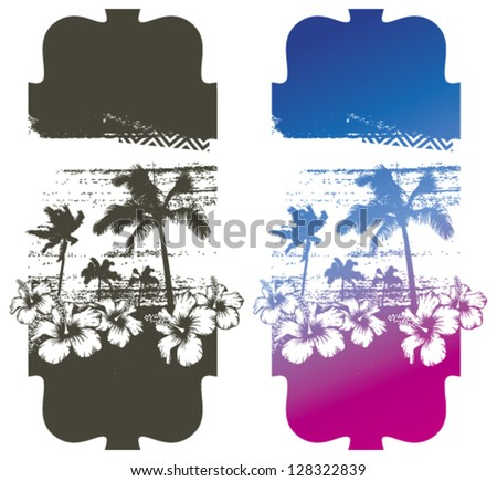summer poster with palms and hibiscus - stock vector