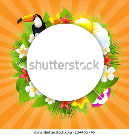 Summer Poster With Sun And Cloud, Vector Illustration - stock vector