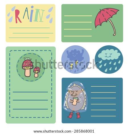 "Summer rain sticker set with cute hedgehog, mushrooms, umbrella, cool clouds, raindrops and hand drawn lettering ""Rain"" - stock vector"