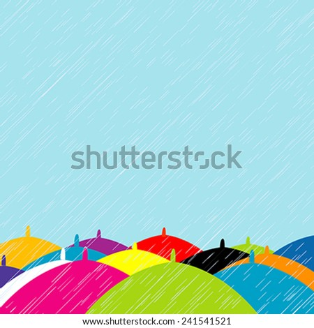 Summer rain with colored umbrellas background - stock vector