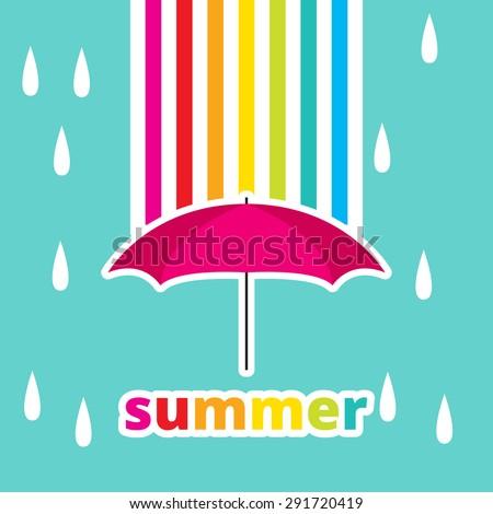 summer rainbow and isolated umbrella - stock vector