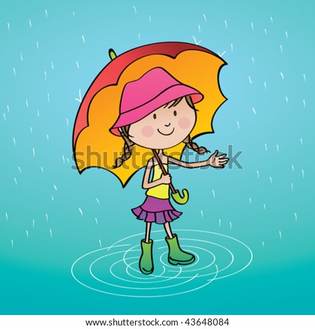 Summer rainy day. Vector illustration of a cute girl enjoying a summer rainy day. - stock vector