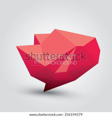 summer red Conceptual polygonal geometric speech bubble. Abstract vector Illustration, low poly style. Stylized design element. Background design for banner, poster, flyer, cover, brochure. - stock vector