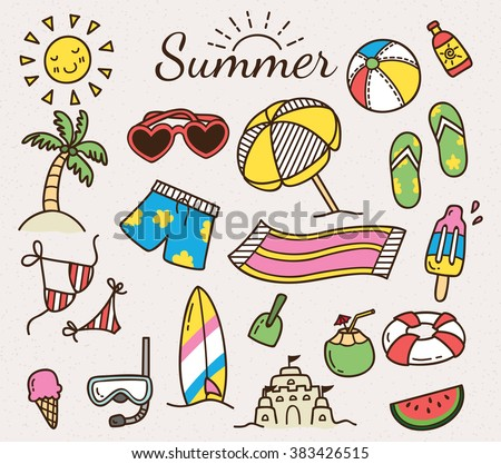 Summer related object in doodle style. Summer vector icon - stock vector