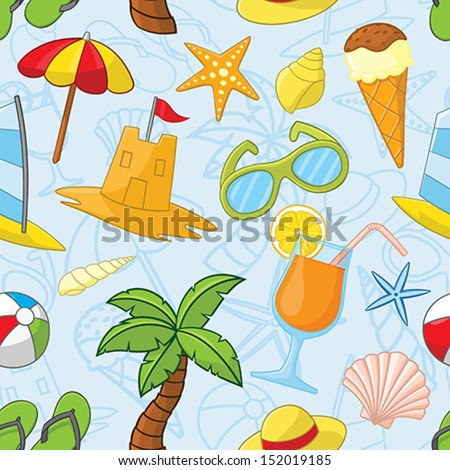Summer related seamless pattern - stock vector
