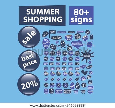 summer retail, shopping, stickers, labels, buttons, elements, icons, signs, illustrations set, vector - stock vector