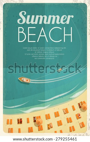 Summer retro beach background with beach chairs and people. Vector illustration, eps10. - stock vector