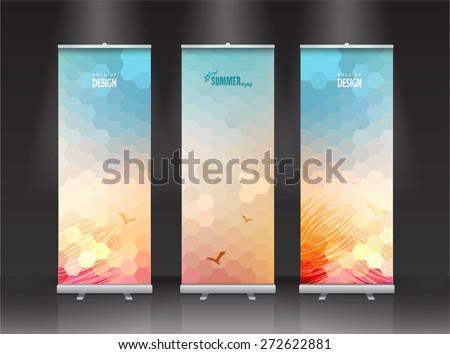 summer Roll up banner stand design. Vector. - stock vector