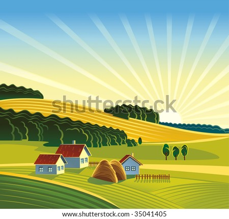 Summer rural landscape. - stock vector