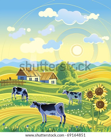 Summer rural landscape and three cows - stock vector