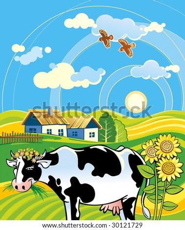 Summer rural landscape with cheerful cow - stock vector