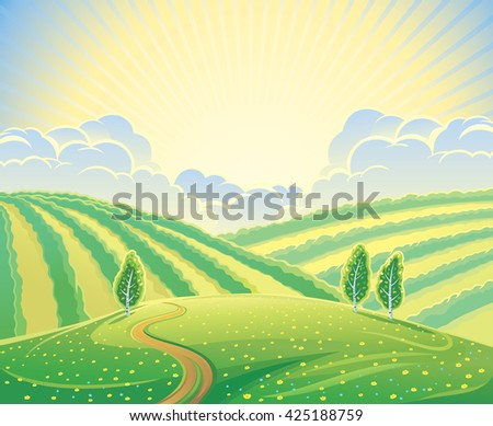 Summer rural landscape with hills and road. Sunrise over the hills that morning.