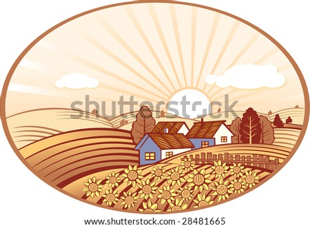 Summer rural landscape with sunflowers - stock vector