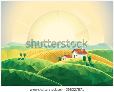 Summer rural sunrise landscape with village, polygonal illustration.