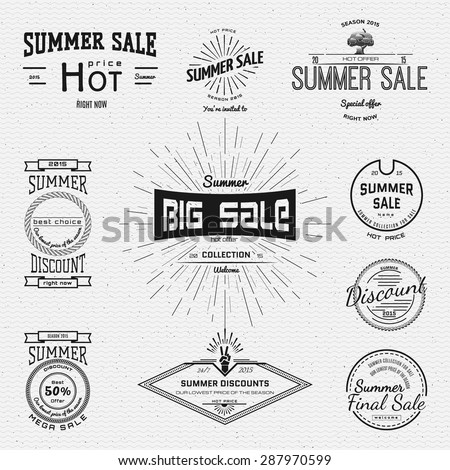Summer sale and discounts badges logos and labels for any use. On a white background - stock vector