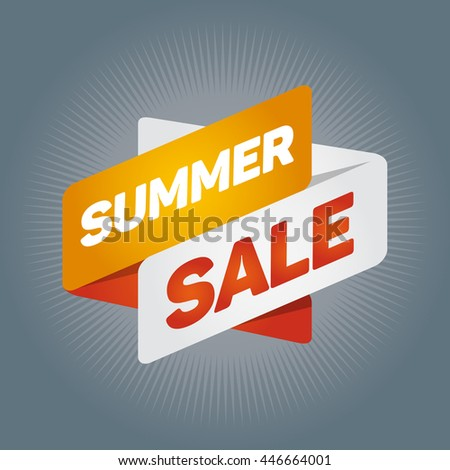 SUMMER SALE arrow tag sign icon. Discount symbol. Special offer label. Gray background.