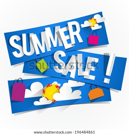 Summer Sale Background With Clouds And Sun vector illustration - stock vector