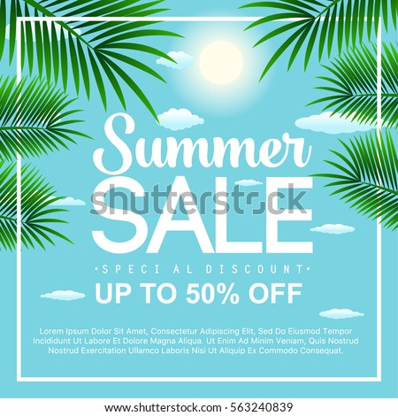 Summer sale background with palm tree. Vector background for banner, poster, flayer, card, postcard, cover, brochure