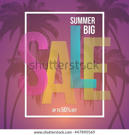Summer sale background with palms. Vector background for banner, poster, flyer, card, postcard, cover, brochure. - stock vector