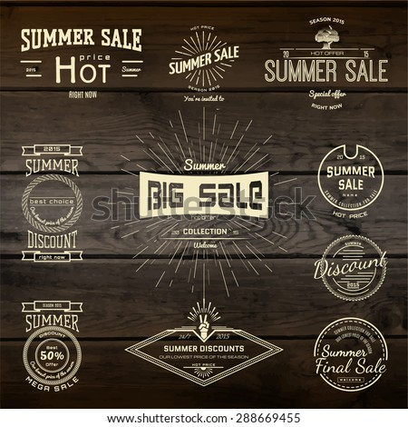 Summer sale badges logos and labels for any use, on wooden background texture. - stock vector