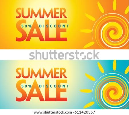 Summer Sale Banner Design Template Promotion Stock Vector