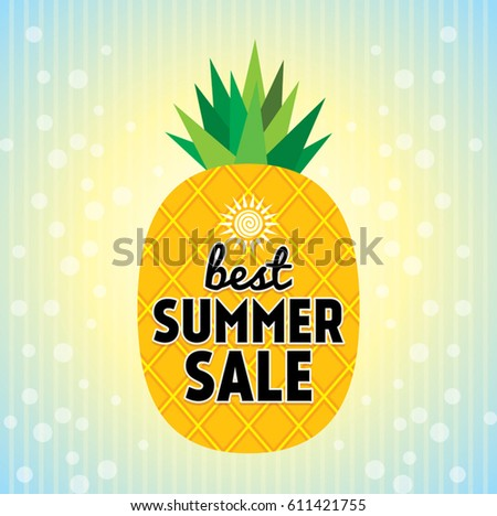 Vector Summer Background Hand Drawn Pineapple 스톡 벡터 ...
