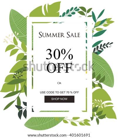 Summer Sale Banner, Sale Poster, Floral card, Vector illustration. - stock vector