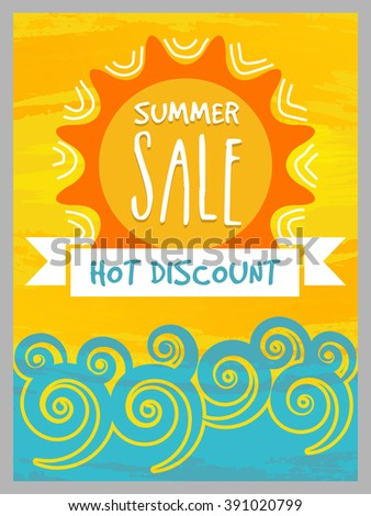 Summer Sale Banner, Sale Poster, Sale Flyer, Sale Vector. Hot Discount.  Vector illustration.