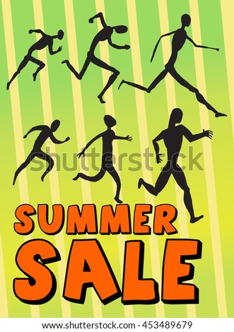 Summer Sale banner. Vintage design. Vector illustration. Running people. Vector collection of symbols. Simple black silhouettes