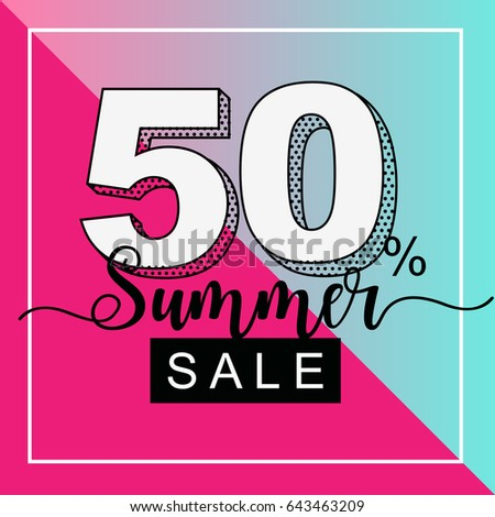 Summer sale banner with duotone tropical plant background