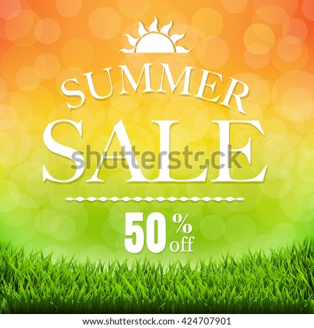 Summer Sale Banner With Grass Border, With Gradient Mesh, Vector Illustration - stock vector