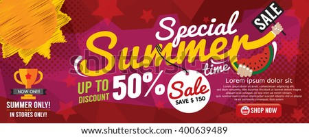 Summer Sale Banner 1500x600 Pixel Vector Illustration